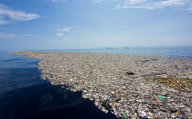 A plastic island in the ocean