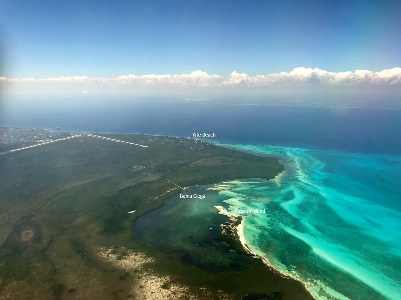 Northshore kiteboarding spots in Cozumel.