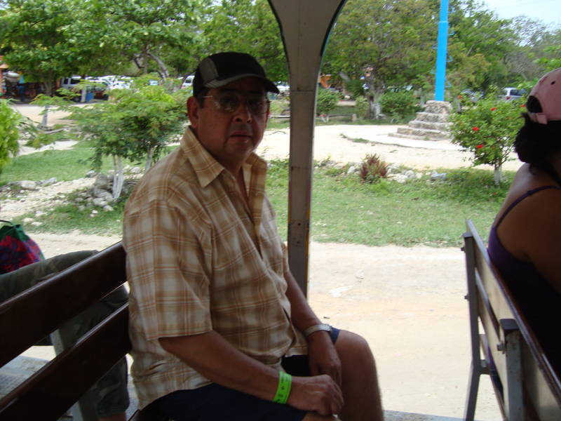 Little train that goes to Tulum Mayan ruins